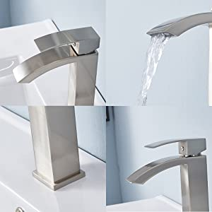 Brushed Nickel Friho Single Handle Waterfall Bathroom Vanity Sink Faucet with Extra Large Rectangular Spout