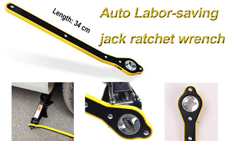 Labor-Saving Jack Ratchet Wrench Scissor Jack Garage Tire Wheel Lug Wrench Handle LaborSaving Wrench