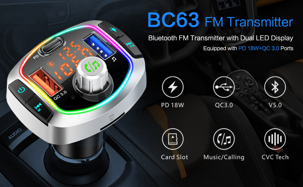 Bluetooth FM Transmitter with 3 USB Charging Ports-Dual faster charger