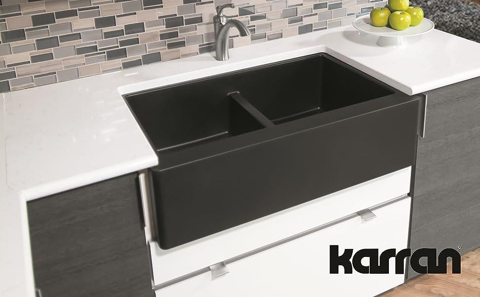 Karran Quartz Farmhouse Double Kitchen Sink