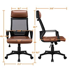 9  YAHEETECH Ergonomic Mesh Office Chair with Leather Seat, High Back Task Chair with Headrest, Rolling Caster for Meeting Room, Home Brown 95c3737b a4d8 4281 9a56 d4fab6a174e1