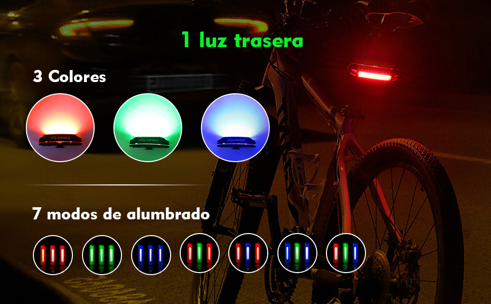 Luz Trasera para Bicicleta Potente (2 Paquetes) Luz de Seguridad ...