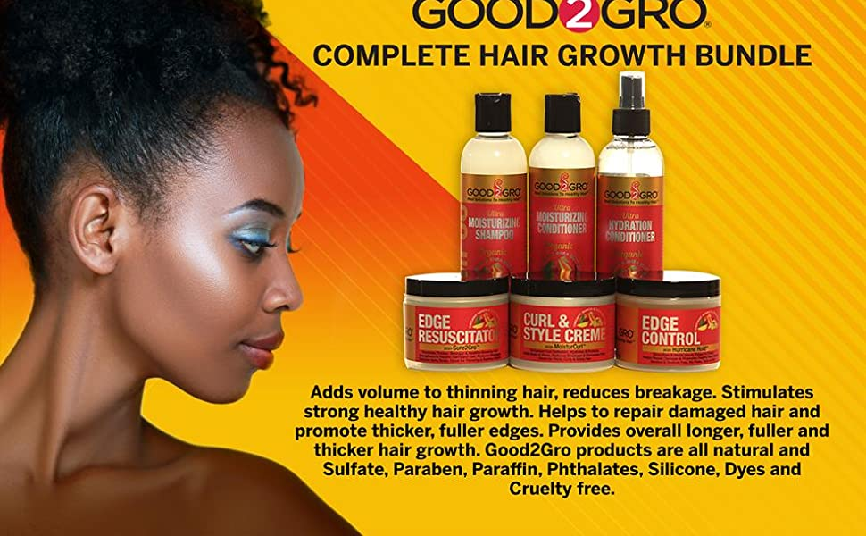Good2Gro helps grow edges, temple,adds moisture & shine reduce breakage allowing hair to grow longer