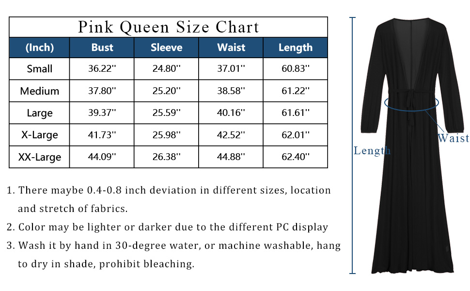pink queen cover up size chart