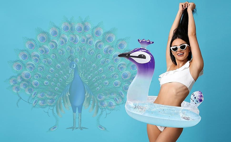 peacock GLITTER SWIM RING