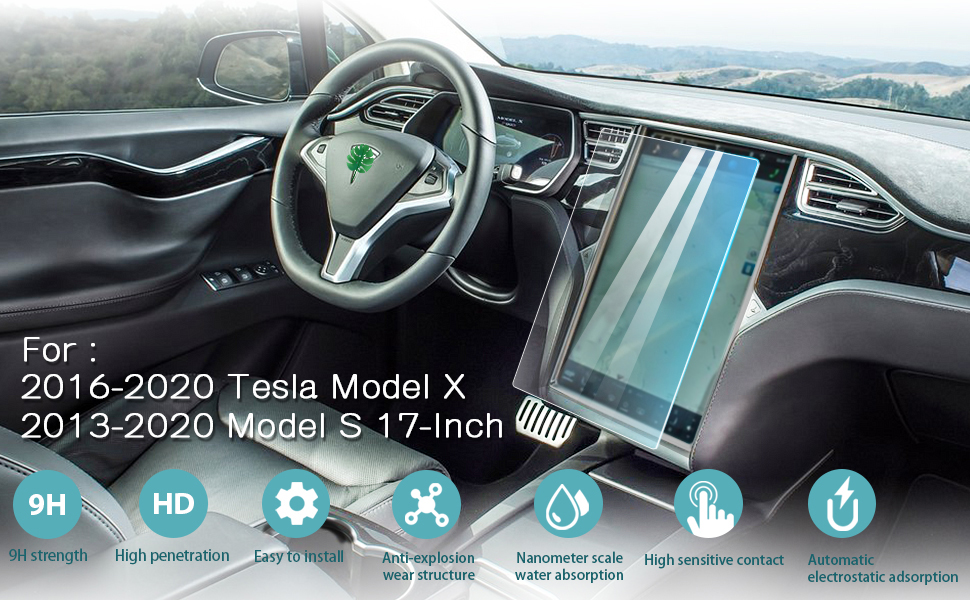 """9H HD Clear Tempered Glass Anti Fingerprint and Scratch Resistance i-Tensodo for Tesla Model X and Model S Screen Protector Tesla Model X and Model S 17/"""" Control Navigation Glass Screen Protector"""