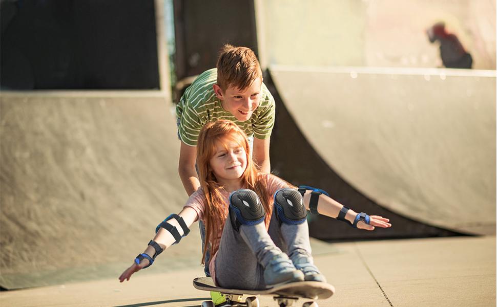 ValuTalks Juego de Protecciones Infantil,Protecci/ón Skate Infantil Rodilleras Coderas Mu/ñequeras para Patinaje Ciclismo Monopat/ín Bicicleta Skate Rosa,6pcs