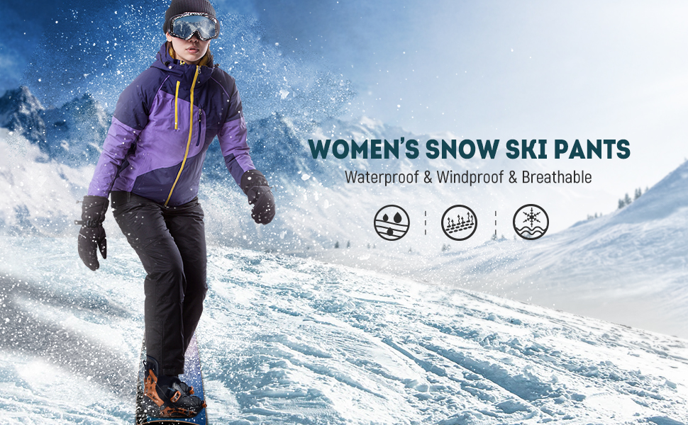 Gray Small//US 4-6 FREE SOLDIER Womens Outdoor Waterproof Windproof Breathable Snow Ski Pants Winter Insulated Snowboarding Skiing Pants
