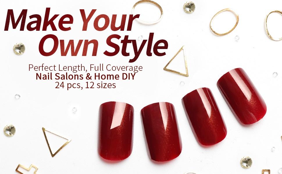 red fake nails