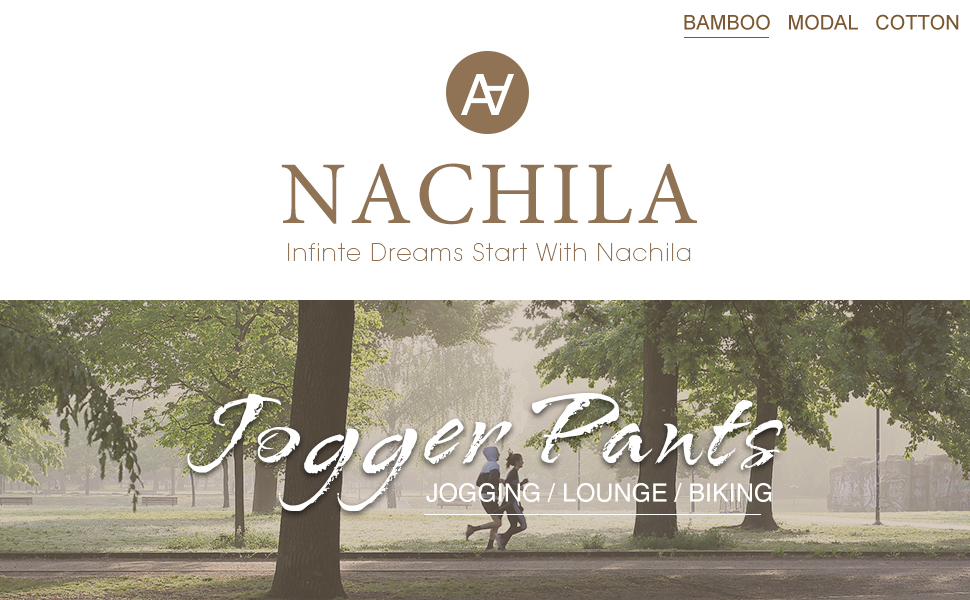 NACHILA Men's Jogger Pants Athletic Running Sport Sweatpants Comfy Bamboo Track Pants with Pockets