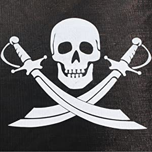 Biideuitsparing met opvallende motiefopdruk met het doodskop en 2 sabels van de piraten in wit.