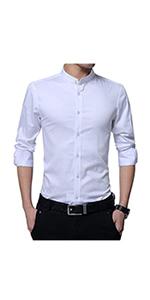mens casual shirt white long sleeves grandad collar shirt button down formal black white red