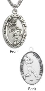 Sterling Silver Saint Sebastian Baseball Medal