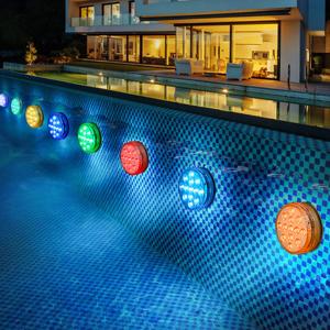 BOZHZO Piscina Luz LED Sumergible, Luces Sumergibles Impermeable IP68 16 color RGB, Iluminación 30-50 horas, Luz Subacuática para jardín/acuario/florero/bañera/piscina o spa/boda/fiesta (4 piezas): Amazon.es: Iluminación