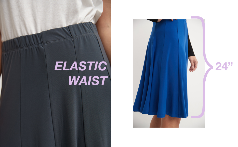 details of the product. elastic waist panelled skirt