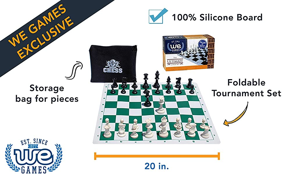 """Double Folding Tournament Chess Board 20/"""" with 2.25/"""" squares"""
