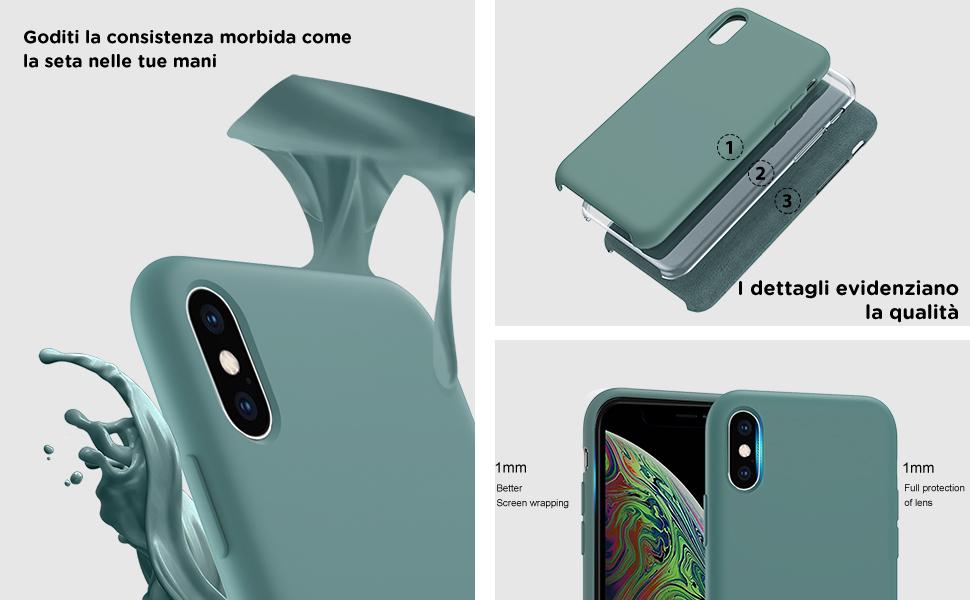 ORNARTO Custodia in Silicone Liquido per iPhone XS, iPhone X Cover Sottile in Silicone Liquido in Gomma Gel Morbida per iPhone XS/X (2018) 5,8 ...
