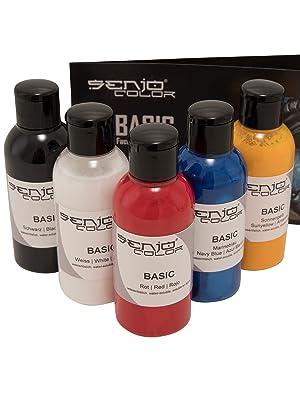 Senjo Color ® Airbrush Set de colores (para la cara y el cuerpo) Colores probados dermatológicamente (5 x75ml) Colores: Negro, Blanco, Rojo, Amarillo ...