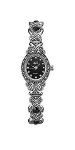 Black Gothic Retro Bracelet Watch Women Rhinestone Oval dial Stainless Steel Strap Wrist Watches