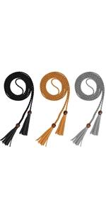 3 Pieces Tassels Belt Woven Braided Chain Belt Women's Skinny Waist Belt for Skirt Dresses