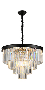 SZXYKEJI 12-Light Glass Chandelier,Large/Chandeliers/for/High Ceilings, Rustic Ceiling Lighting Fixture Pendent Light for Dining/Room Living Room Bedroom Office (Black)