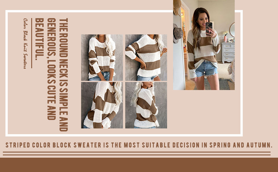 Striped Loose Knit Pullover Sweaters