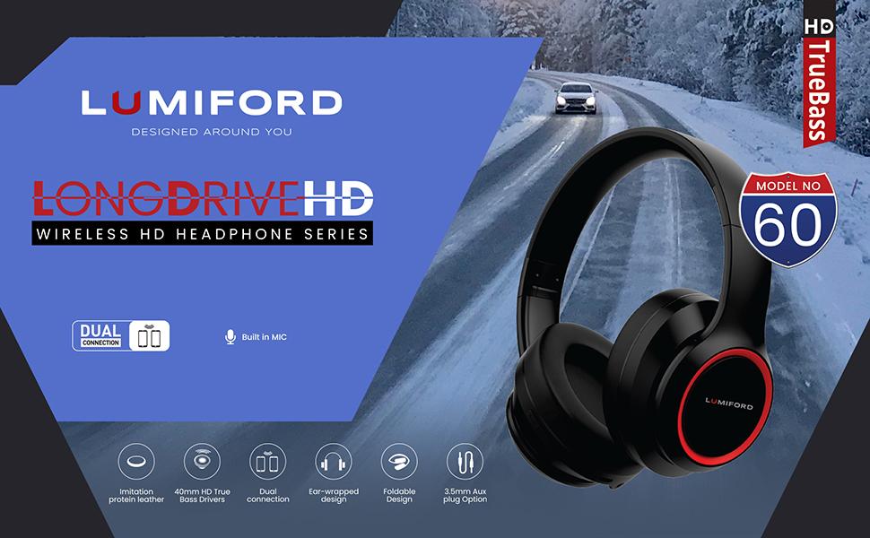 Lumiford Wireless Headphones, HD60, Bluetooth Headphones