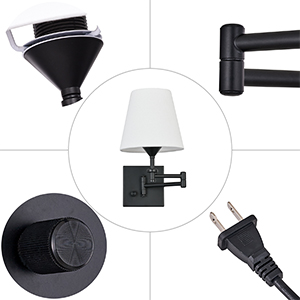 Plug in Wall Lamps Fixture with On/Off Switch