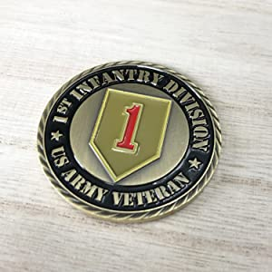 US Air Force Veteran challenge coin big red one infantry division collector airborne patriotic
