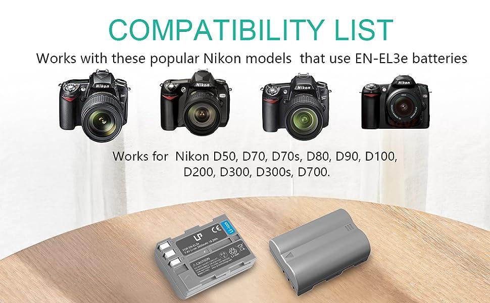 LP EN-EL3e Battery Charger Pack, Replacement for Nikon EN EL3e, EL3, EL3a, MH-18, MH-18a, MH-19, Compatible with Nikon D700, D300s, D300, D200, D100, ...
