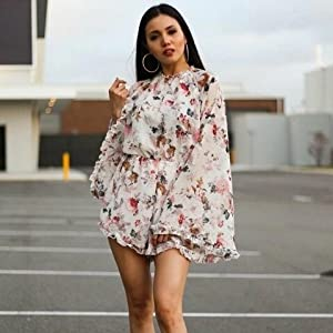 Romwe Womens Floral Printed Ruffle Bell Sleeve Loose Fit Jumpsuit Rompers