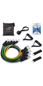 12 set resistance exercise loops with handles and carrying case home workout resistance bands