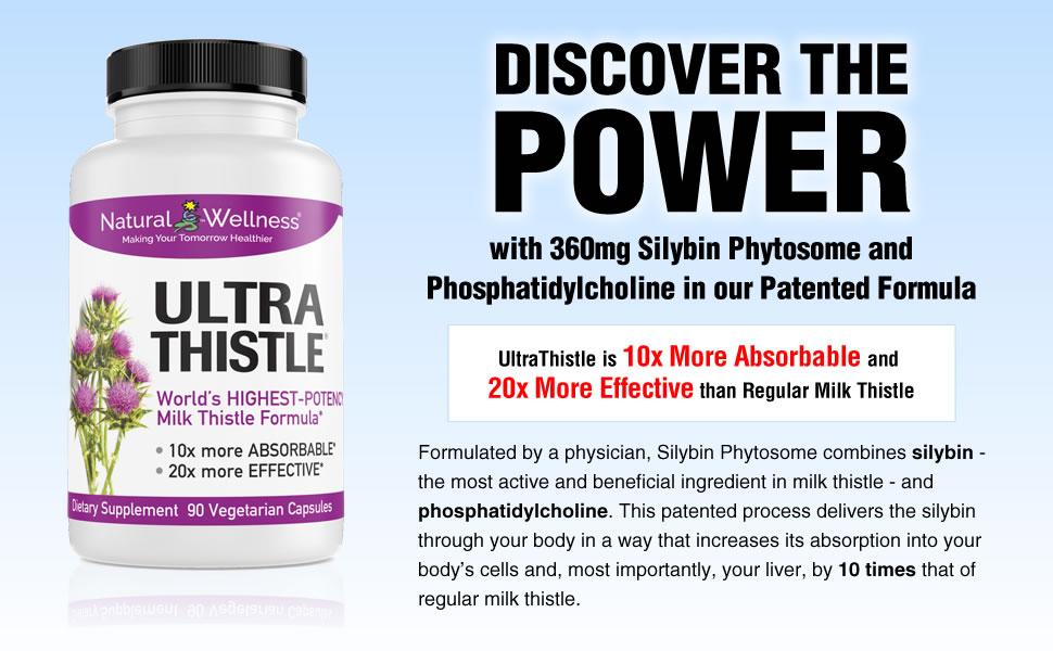ultrathistle milk thistle supplement 360mg silybin phytosome and phosphatidylcholine more absorbable
