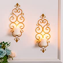 gold scroll candle sconces