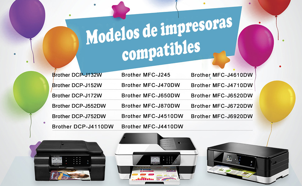 7Magic Cartucho de Tinta Compatible con Brother LC123XL LC123 con ...