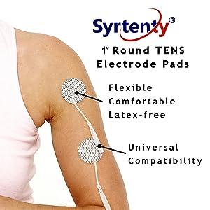 "Syrtenty 1"" round TENS electrode pads universal compatibility deep muscle stimulator e-stim 10s unit"