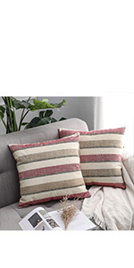 striped farmhouse pillow covers red