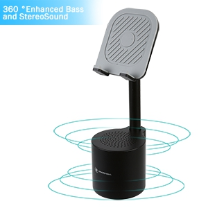 1  2 in 1 Bluetooth Speaker Phone Holder, Portable Wireless Speaker with Enhanced Bass and Stereo Sound, Adjustable Phone Stand, Compatible with All Mobile Phones, Suitable for Outdoor and Indoor 9633bea3 d659 4728 a748 70bf32d2de59