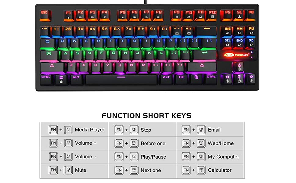 CQIANG Mechanical Keyboard Black//Brown//Blue//Red Key Axis USB Interface Black Keyboard 104 Button Both Office and Gam Entry-Level RGB Backlight Desktop Computer Laptop Office Gaming Keyboard