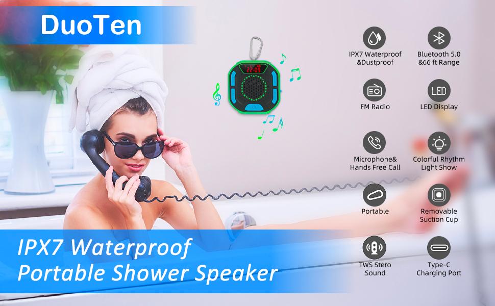 DuoTen IPX7 Waterproof Portable Shower Speaker