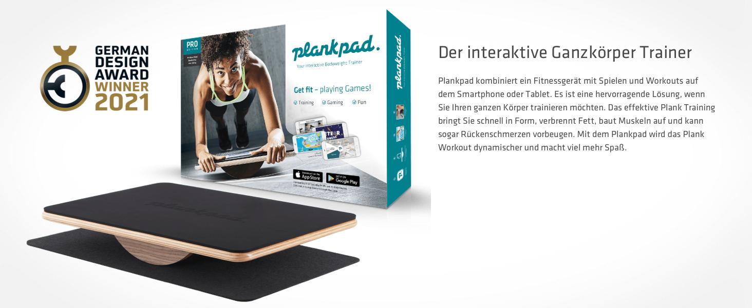 Plankpad kombiniert ein Fitnessgerät mit Spielen und Workouts auf Ihrem Smartphone oder Tablet.