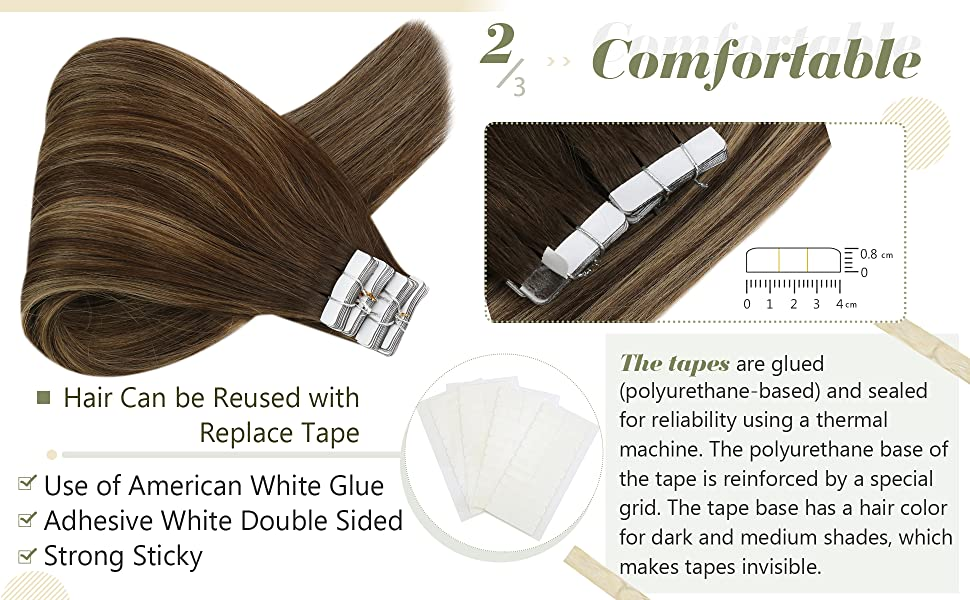 Balayage Tape in Hair Extensions Real Remy Human Hair