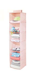 6 Shelf Fabric Kids Hanging Closet Nursery Organizer Sweater