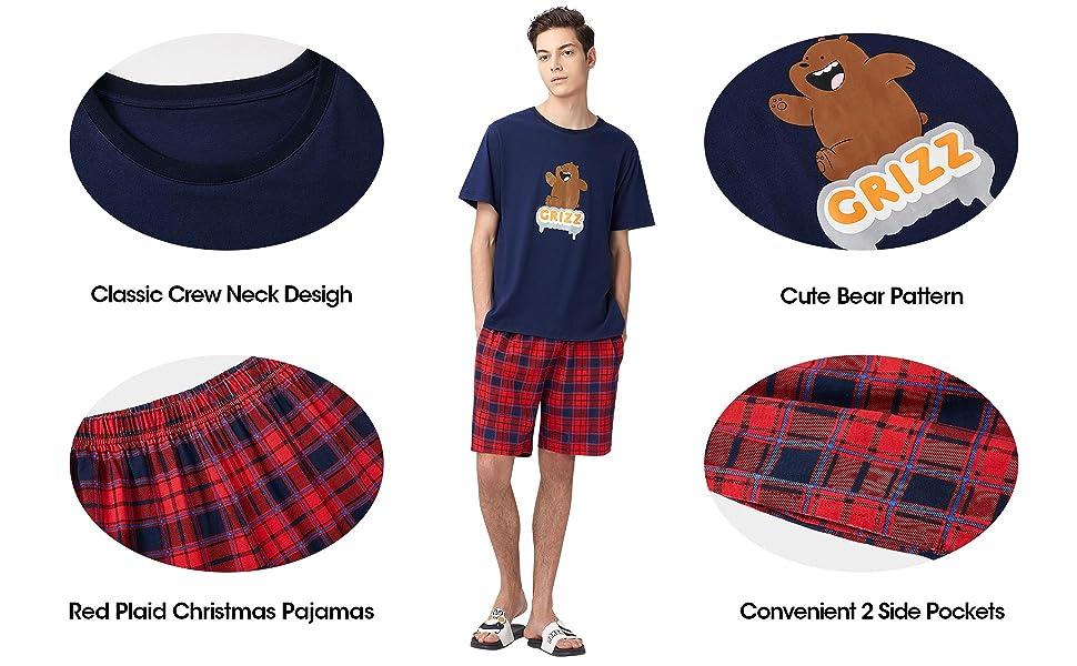 SANQIANG Men/'s Soft Cotton Short Sleeves and Shorts Pajama Set Mens Sleepwear Lounge Set Christmas Mens Pajamas Set Blue