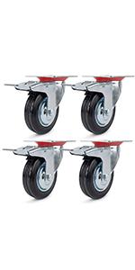 Transportwielen 125 mm, zwenkwielen, zware wielen, transportwielen met remrollen voor meubels