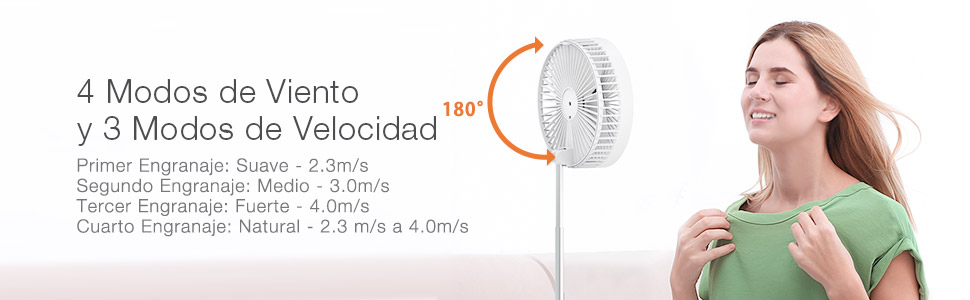 Picnic y etc. Oficina Ventilador Extensible Plegable Ventilador de Pedestal Ultra Compacto Incorporado de 7200mAh para Hogar Camping BlitzWolf Ventilador de Mesa