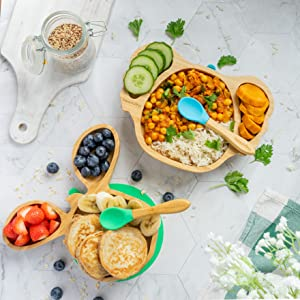 bamboo toddler plates with food