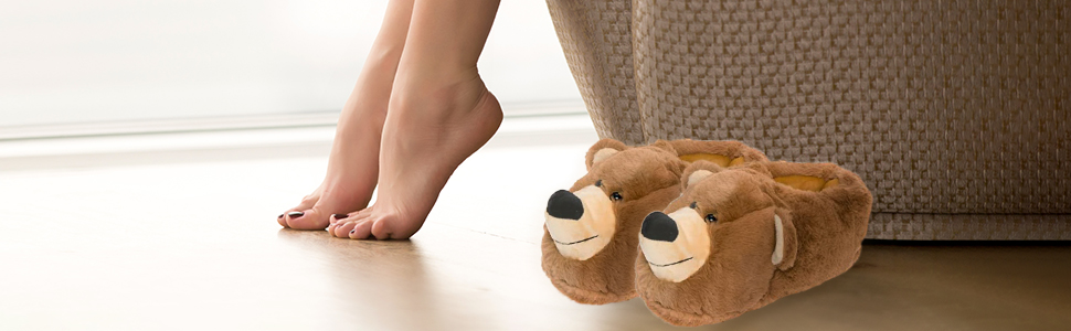 slippers next to somebodies feet