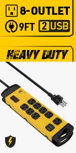 8-Outlets 2 USB Heavy duty power strip surge protector