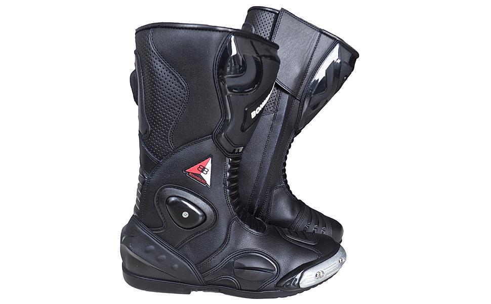 Botas de Piel Deportivas Impermeables Botas de Moto 46 de Cuero Estable Protectores r/ígidos Integrados Bohmberg